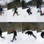 Na poti smo si umislili dodatno zabavo - vsako priložnost smo izkoristili za skok v novozapadli sneg. (foto: Aleš Pavletič)