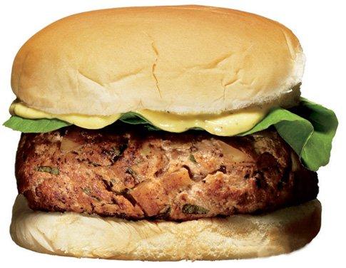 Hamburger s puranjim mesom in jabolki
