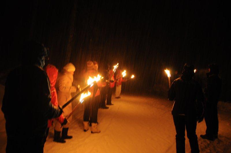 Aktivni vikend Pokljuka, feburar 2014, nočni pohod z baklami