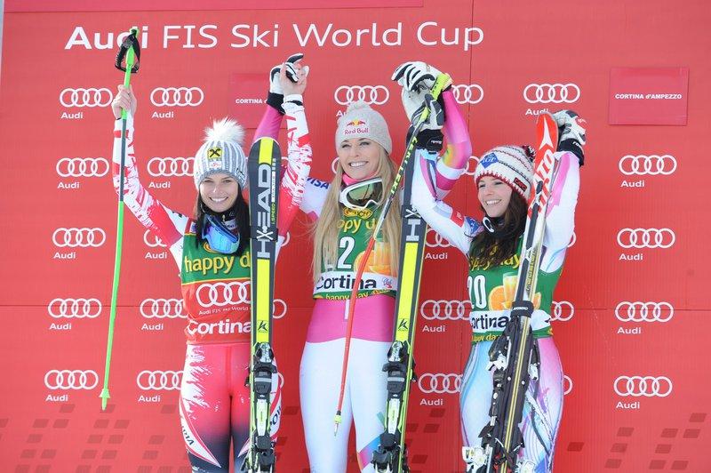 Anna Fenninger, Lindsey Vonn, Tina Weirather, januar 2015, Italy