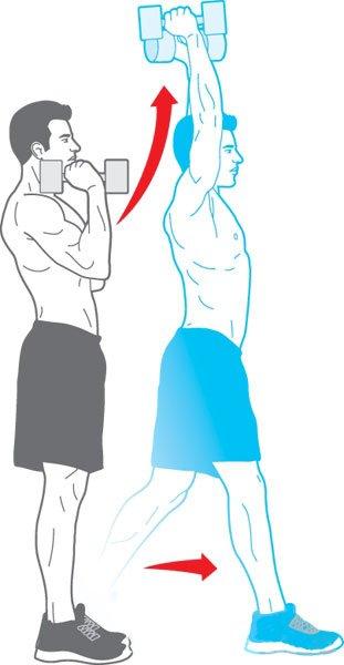 Potisk nad glavo v gibanju za močna ramena