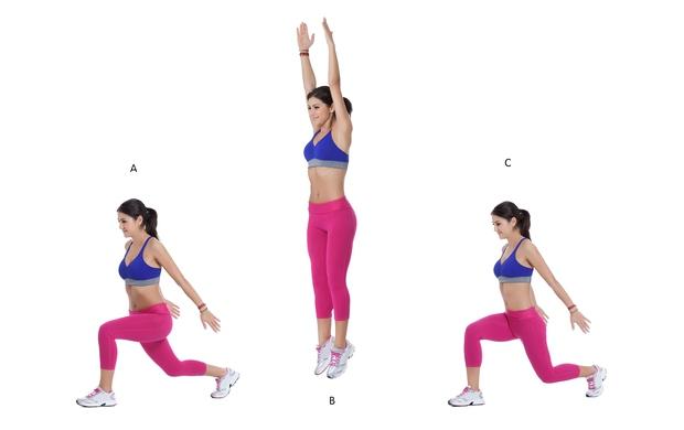 VAJA 1: Izpadni korak s skokom Stojte vzravnano, stopala so v širini bokov, roke sproščene ob telesu. Z levo nogo …