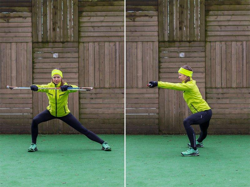 Špela Strasser: Raztezne vaje - raztezanje mišic nog, izpadni korak v stran