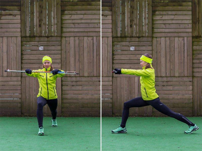 Špela Strasser: Raztezne vaje - raztezanje sprednje stegenske mišice, izpadni korak naprej