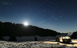 Foto: Jasna noč in prvi sneg na Zajamnikih