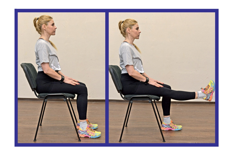 IZTEG KOLENA Sedemo na stol in poravnamo hrbet. Eno nogo v kolenu iztegnemo pred sebe in potem še nasprotno. Z …