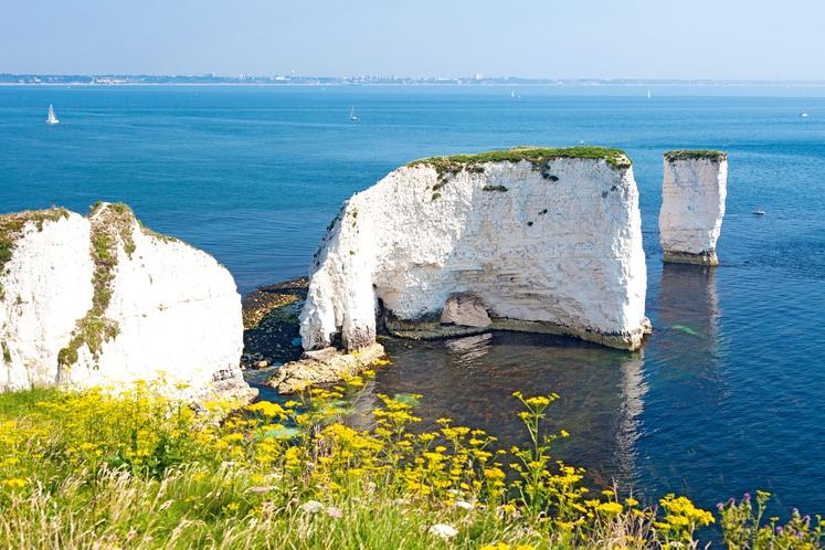 OLD HARRY SKALOVJE, DORSET, J. ANGLIJA Tri skalnate tvorbe iz krede, ki gledajo iz morja, so najbolj obiskana točka jurske …