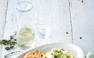 Puranji zvitki na vinu s pire krompirjem
