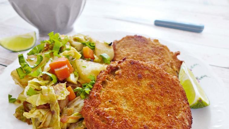 Seitan po dunajsko in krompir z ohrovtom (foto: osebni arhiv)