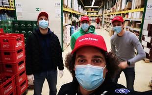 Trenerji in prostovoljci SZS priskočili na pomoč pri dostavi izdelkov Mercatorja