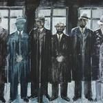 Slika Glave iz leta 2015  Največja slika, ki osupne z mračnimi figurami skupine čikaških gangsterjev. (foto: Razstava SLIKE 151617 Boštjan Jurečič)