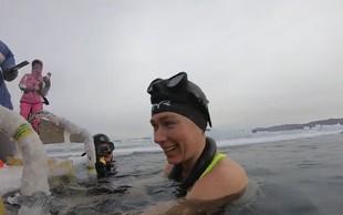 Nov rekord: Rusinja Ekaterina Nekrasova plavala pri minus 22 stopinjah Celzija (Video!)