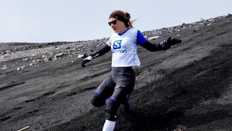 Ana Čufer po Triglavu postavila še svetovni rekord v spustu z aktivnega vulkana Etna! (foto: facebook Ana čufer)