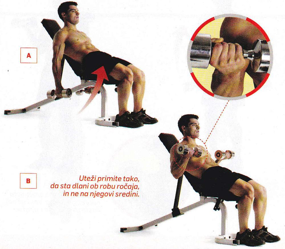 Vaja za biceps - sedeči upogib komolca
