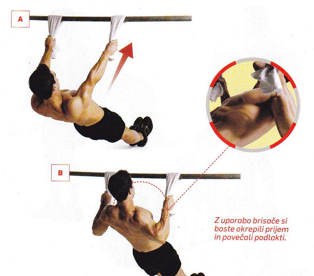 Vaja za biceps - obratno veslanje z brisačo